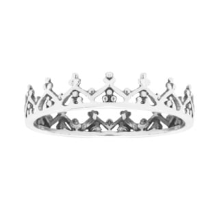 Handmade Humbled Royal Crown Sterling Silver Band Ring (Thailand)