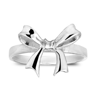 Adorable Ribbon Bow Tied Sterling Silver Ring (Thailand)