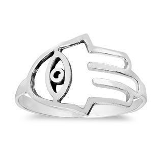 Hamsa Hand Evil Eye Protection Sterling Silver Band Ring (Thailand)