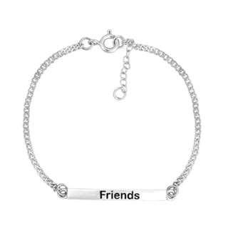 'Friends' Bar Sterling Silver Chain Friendship Bracelet (Thailand)