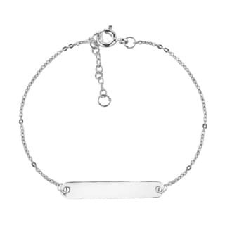 Always Simple Engraveable Tag Bar Sterling Silver Bracelet (Thailand)