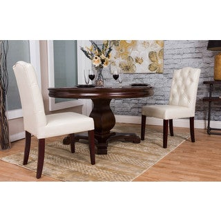 Somette Ivory Tufted Bonded Leather Dining Chair (Set of 2)