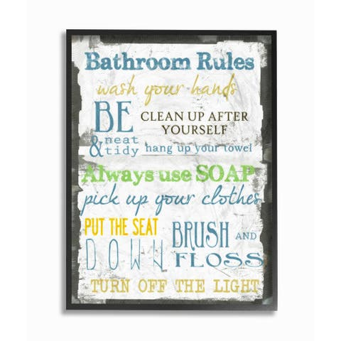 Classic 'Bathroom Rules' Typography Framed Giclee Texturized Art
