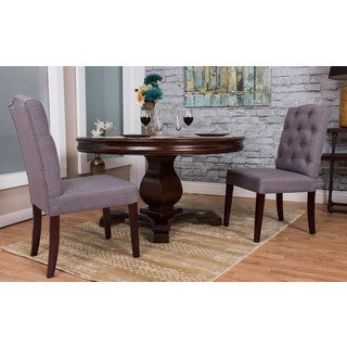 Margo Linen Fabric Tufted Wing Back Dining Chair
