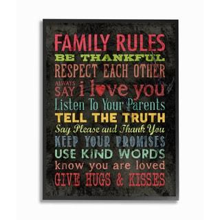 Stupell 'Family Rules' Chalkboard Style Wood Framed Giclee Texturized Art