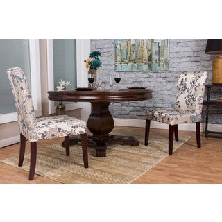 Somette Ivory Linen Floral Dining Chair (Set of 2)
