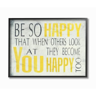 Be So Happy' Black/Yellow Framed Canvas Giclee Texturized Art
