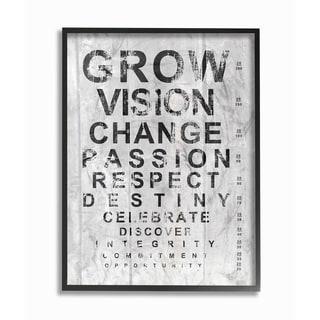 Grow Eye Chart' Inspirational Typog Framed Giclee Texturized Art