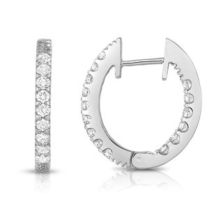 Noray Designs 14k White Gold Diamond Inside-Out Hoop Earrings