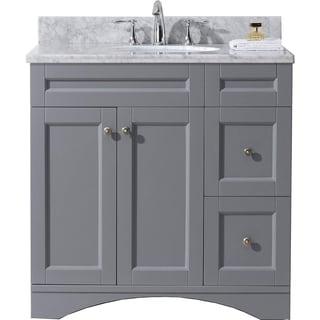 Virtu USA Elise 36-inch Carrara White Marble Single Bathroom Vanity Set