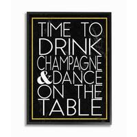 'Time to Drink Champagne' Framed Giclee Texturized Art