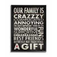 'Our Family is Crazzzy' Framed Giclee Texturized Art