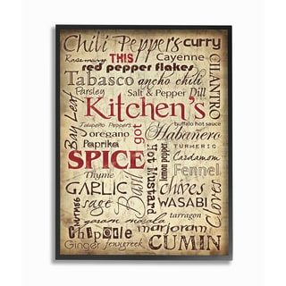 Kitchen Spices Typography Framed Giclee Texturized Art