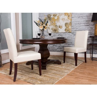 Somette Ivory Bonded Leather Dining Chair (Set of 2)