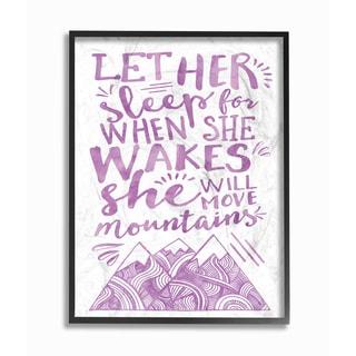 'Let Her Sleep' Purple Mountains Framed Giclee Texturized Art