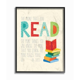 The More You Read Books' Framed Giclee Texturized Art