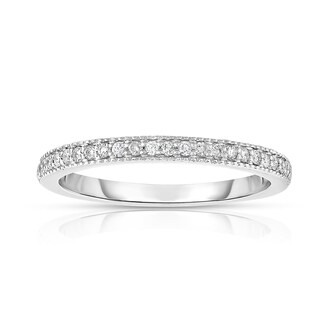 Noray Designs 14K White Gold .15ct TDW Diamond Semi-Eternity Wedding Band - White G-H (More options available)