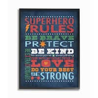 Superhero Rules' Typography Multicolored Framed Wood Giclee Texturized Art