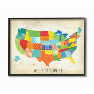 This Is My Country' Quilted Map Framed Giclee Texturized Art