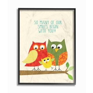 Stupell 'Owl Family: So Many Smiles' Wood Framed Giclee Texturized Art