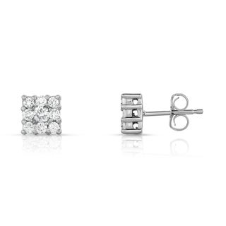 Noray Designs 14K White Gold 1/2ct TDW Cluster Square Diamond Stud Earrings (G-H, SI1-SI2)