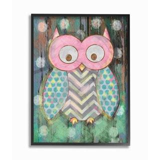 Woodland Polka Dot Owl Framed Giclee Texturized Art