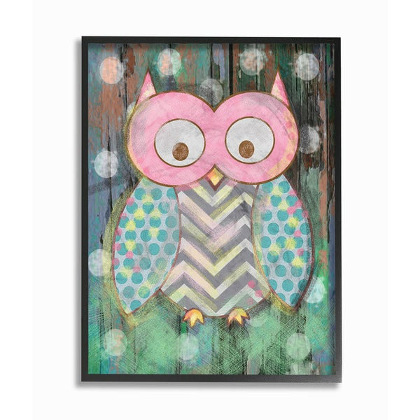 Woodland Polka Dot Owl Framed Giclee Texturized Art