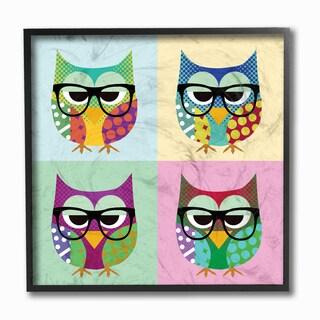 Stupell Owls Wearing Eyeglasses Framed Giclee Texturized Art