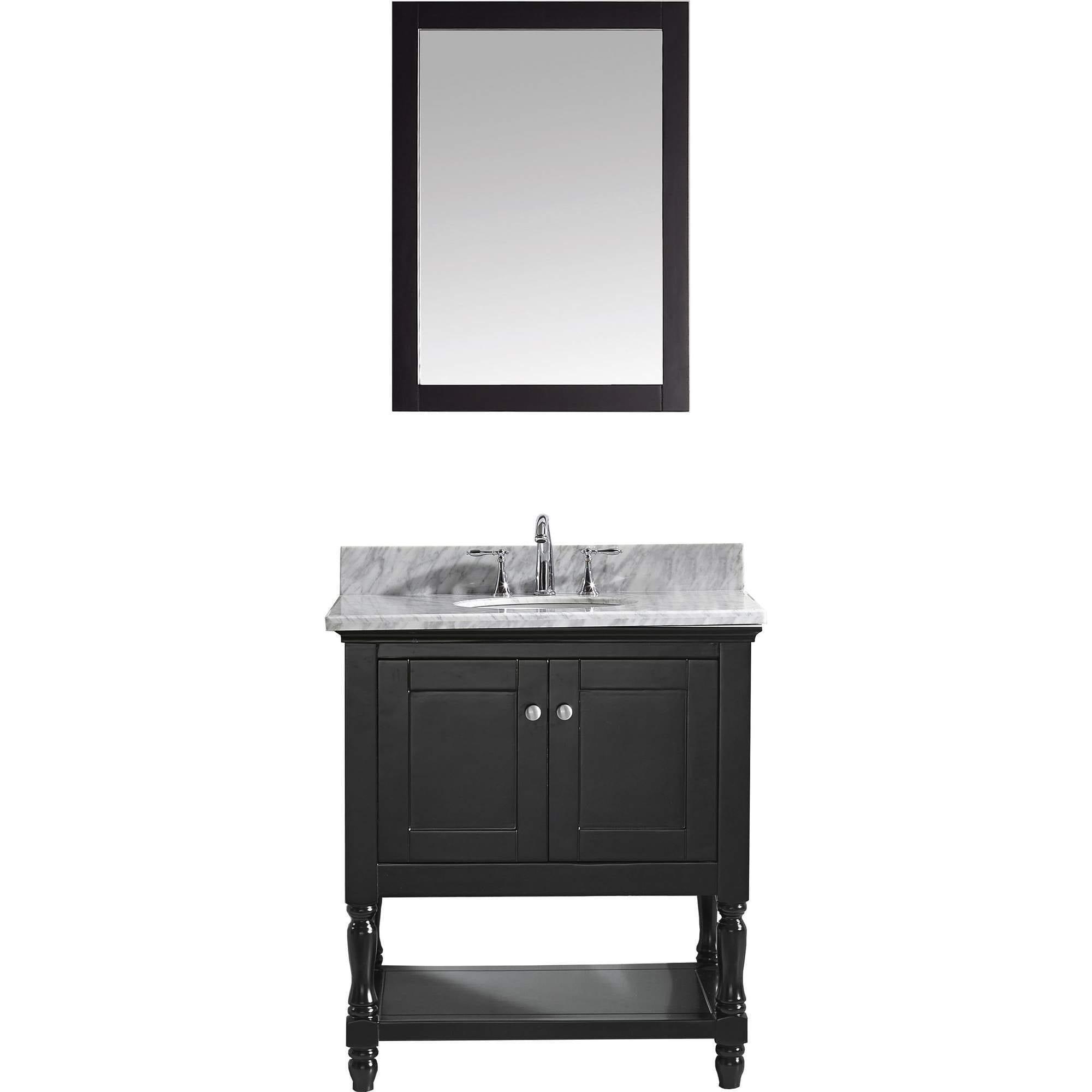 Virtu usa julianna 32 inch white marble single bathroom vanity set espresso