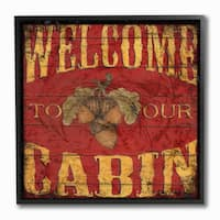 Welcome to Our Cabin' Framed Giclee Texturized Art