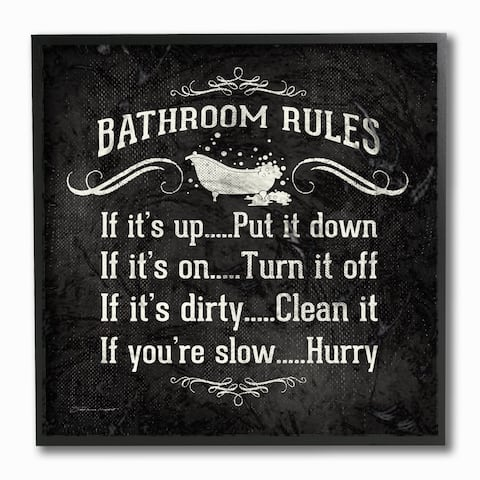 Bathroom Rules BW Icon' Framed Giclee Texturized Art