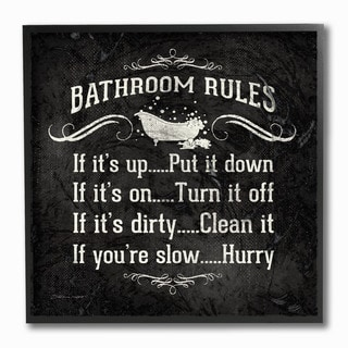 Bathroom Rules BW Icon' Framed Giclee Texturized Art