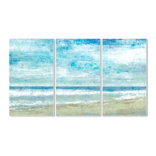 Golden Sands' Blue MDF Triptych Wall Plaque Art Set
