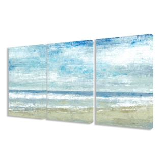 Stupell 'Golden Sands' Painted Landscape Triptych Stretched Canvas Wall Art Set