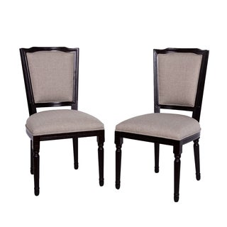Somette French-inspired Grey Linen Dining Chair (Set of 2)