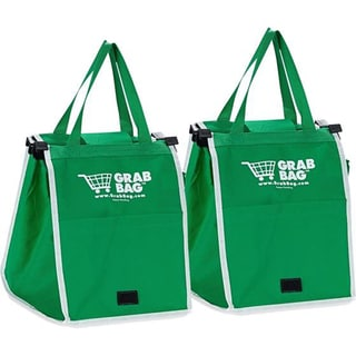 Grab Bag Green Nylon Reusable Grocery Bag (Set of 2)