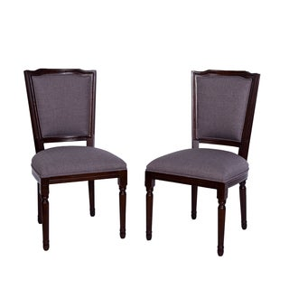 Somette French-inspired Slate Grey Linen Dining Chair (Set of 2)
