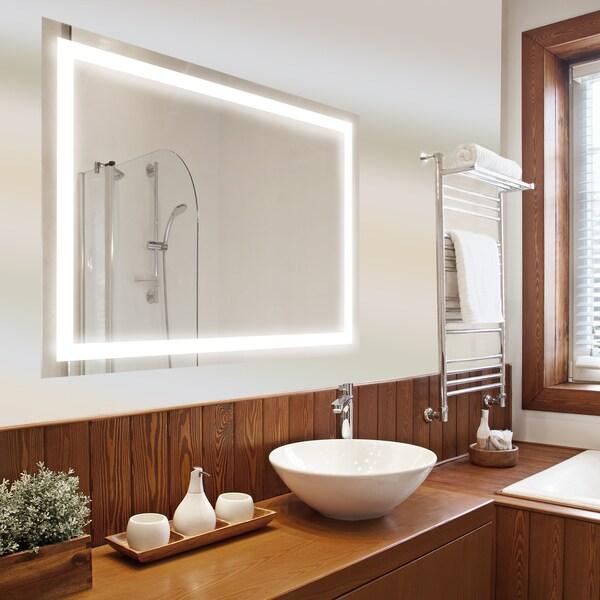Dyconn Faucet Edison Wall Mounted Vanity Bathroom Led Backlit Mirror Clear