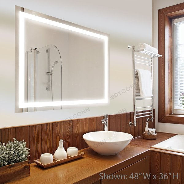 Dyconn Faucet Edison Wall Mounted Vanity Bathroom LED Backlit Mirror With Touch On Off Dimmer And Anti Fog Function