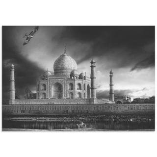 Piet Flour 'Taj Mahal in Black and White' Taj Mahal Image on Metal or Acrylic