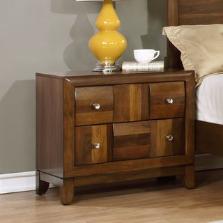 Calais Walnut-finished Solid Wood Construction, Brushed-nickel-finished Metal, and Velvet Nightstand
