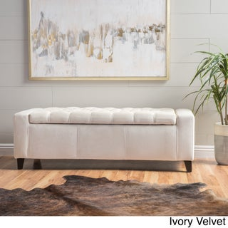 Hikaru Storage Ottoman by Christopher Knight Home (Option: Ivory)