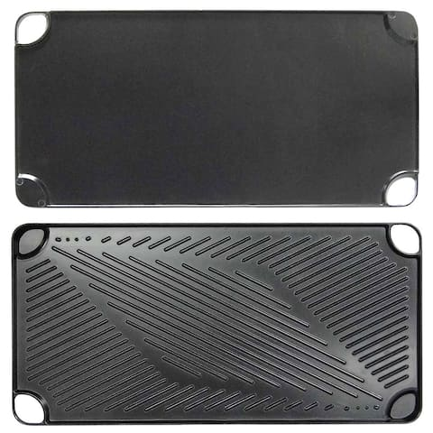 """Black Aluminum Reversible Grill and Griddle Pan by KitchenWorthy - 18""""l x 9""""w x .75""""h"""