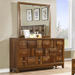 Calais Walnut-finished Solid Wood 6-drawer Dresser and Mirror