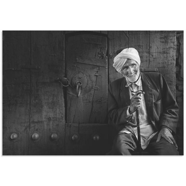 Yousef Almasoud 'The Greeter' Black & White Photography on Acrylic