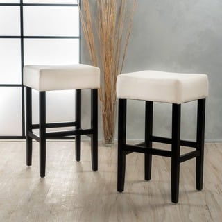 Link to Lopez 30-inch Beige Fabric Backless Barstool (Set of 2) by Christopher Knight Home Similar Items in Dining Room & Bar Furniture