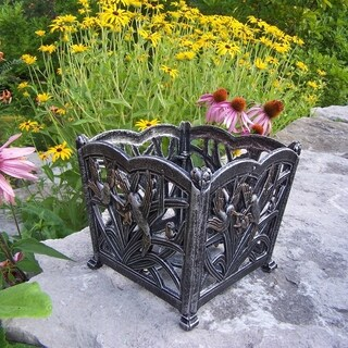 Sweet Hummingbird Silvertone Aluminum/Metal Square Flower Pot