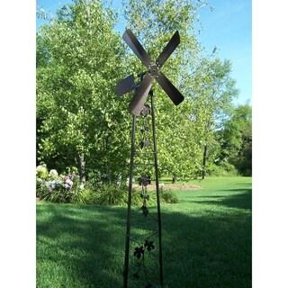 Oakland Living Napa Valley Hammertone Brown Iron Garden Windmill