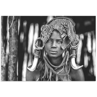 Vedran Vidak 'Mursi Headdress' Black & White Indigenous Art on Metal or Acrylic