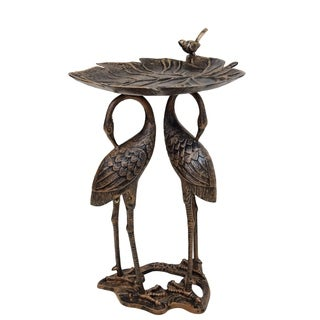 Bronze Aluminum, Iron and Metal Lily and Cranes Bird Bath